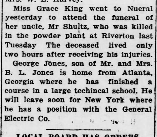 william shultz 1918 obituary 3 at Calvary Cemetery in Wichita Kansas - Miss Grace King went to Nueral yesterday to...