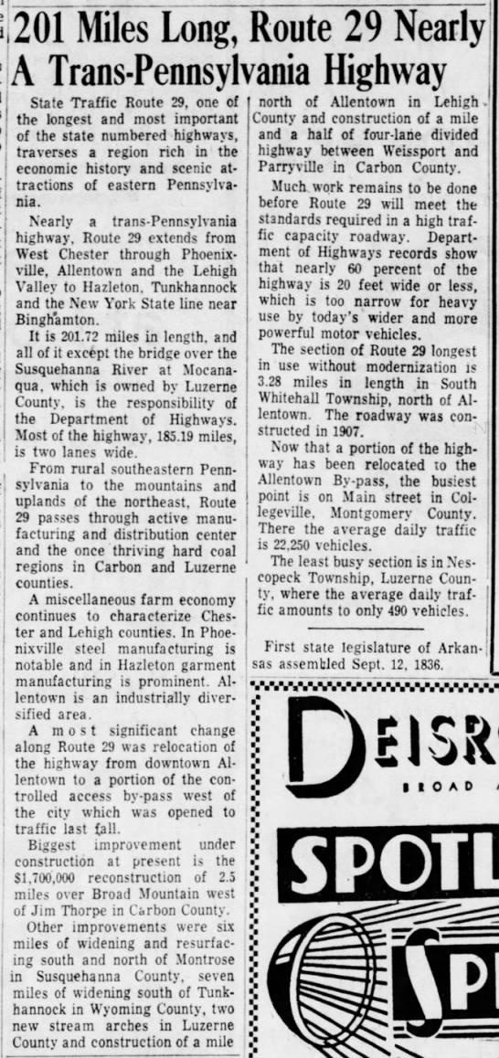 PA 29, August 28, 1959 - , grass-cu,t-j that- 201 Miles Long, Route 29...
