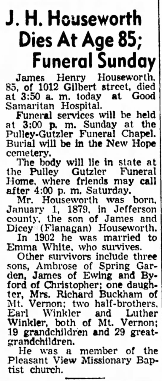 - J. H. Houseworth Dies At Age 85; Funeral Sunday...