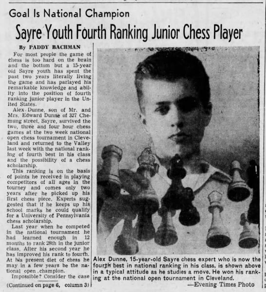Sayre Youth, Chess, Bobby Fischer - Goal Is National Champion Sayre Youth Fourth...
