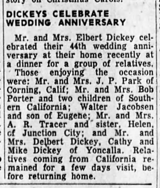 Elbert Dickey 44th wedding anniversary - DICKEYS CELEBRATE WEDDING ANNIVERSARY . Mr. and...