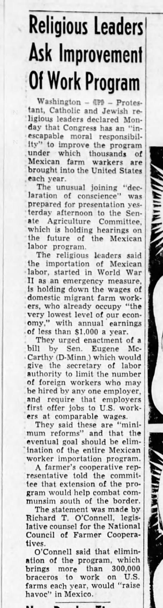 MMT 14 Jun 61 pg 16 - Religious Leaders Ask Improvement Of Work...