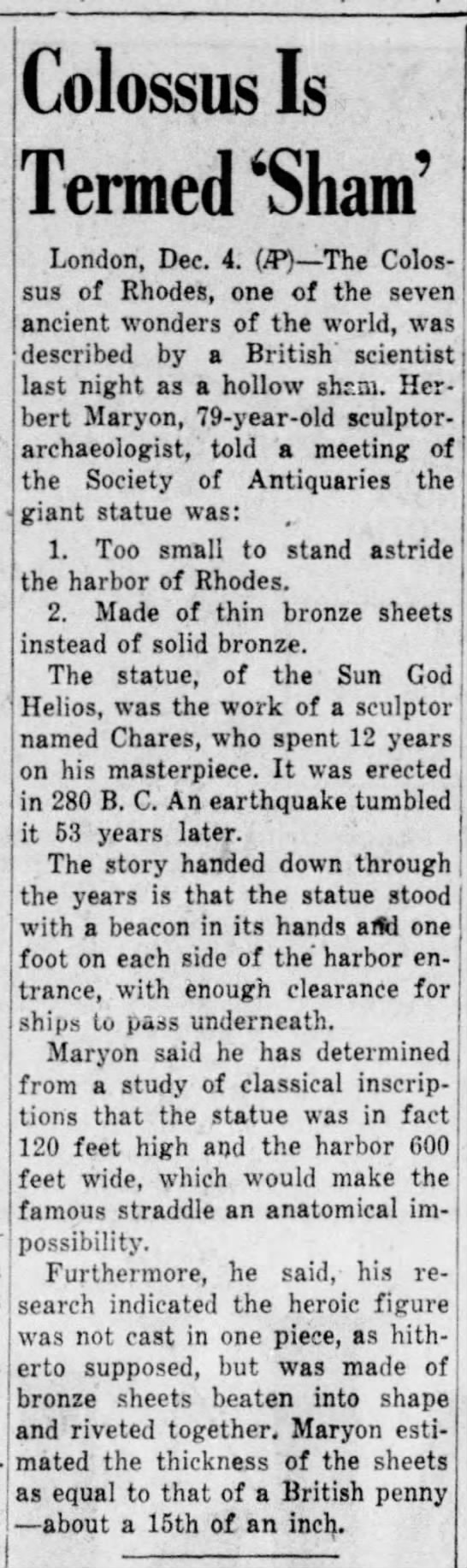 Herbert Maryon on the Colossus of Rhodes, The Plain Speaker, 4 December 1953 - Colossus Is Termed 'Sham' London, Dec. 4. (JP)...