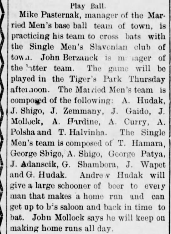 14 Jun 1898 Mike Pasternak's baseball team includes T. Hamara. - l'lay Hull. Mike Pasternak, manager of the...