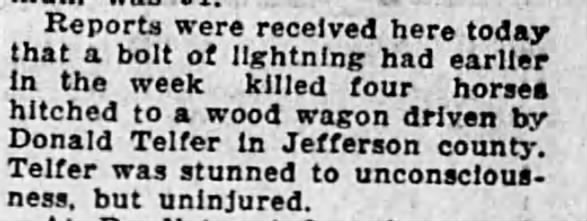 Donald Joseph Telfer survives lightening bolt
