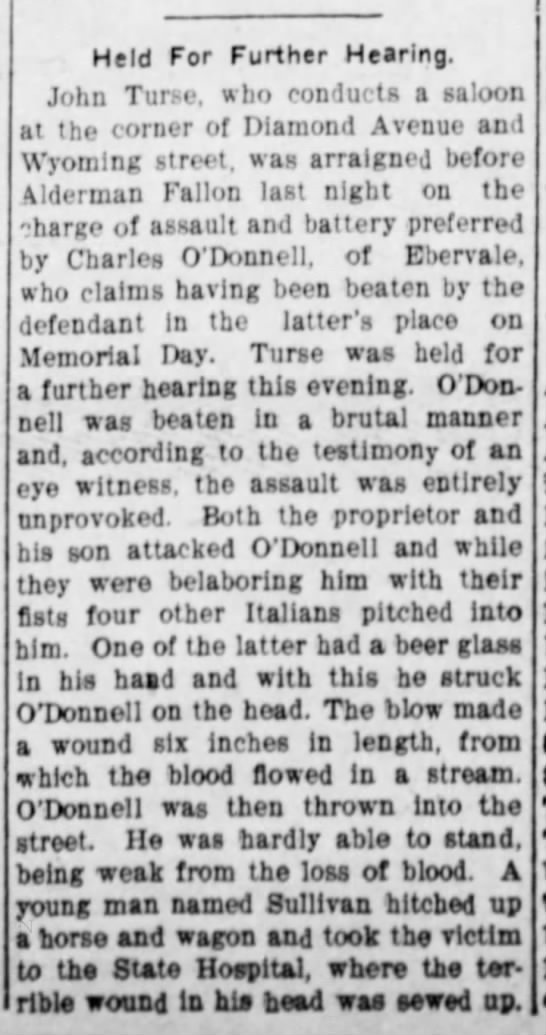Charles OD of Ebervale? - Held For Further Hearing. John Turse, who...