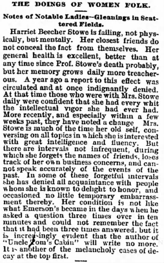 Harriet Beecher Stowe's Mental Health Declines - room large getting fan- THE DOINGS OF WOMEN...