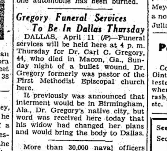Lubbock Morning Avalanche12 April 1933 - an 38 he a the Gregory Funeral Services To Be...
