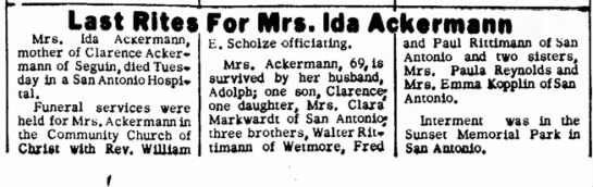 - Last Rites For Mrs. Ida Ackermann Mrs. Ida...