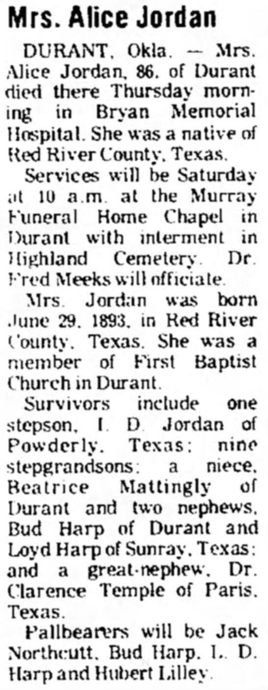 Obiit Jordan, Alice wife of Ed - Mrs. Alice Jordan DURANT, Okla. - Mrs. Alice...