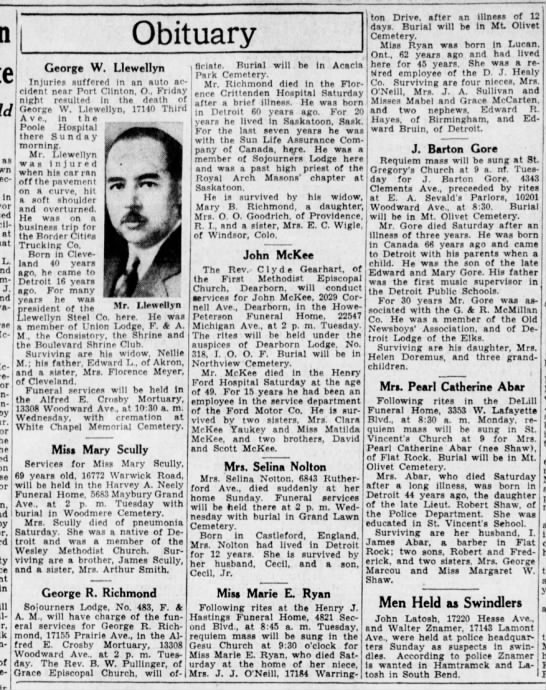 Obituaries, 1934 - as In at L. J. Mc-Whlrter Mc-Clenahen by in...