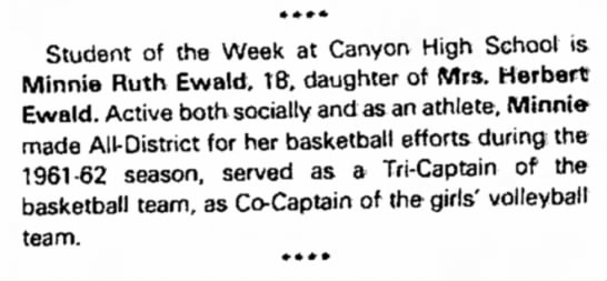 Minnie Ruth Ewald New Braunfels Herald - * »»* Student of the Week at Canyon High School...