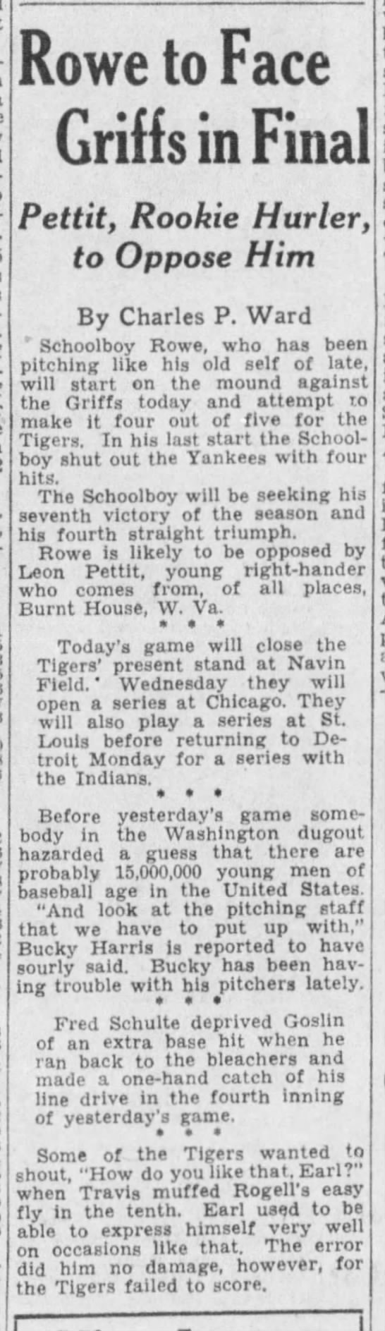 WAS@DET 6/24/1935 notes - Rowe to Face Griffs in Final Pettit, Rookie...