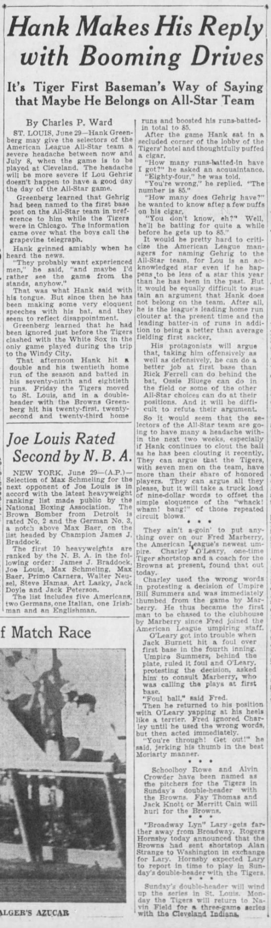 DET@STL 6/29/35 notes - mjj - . ; ' ; Hank Mak es His R ep ly with...