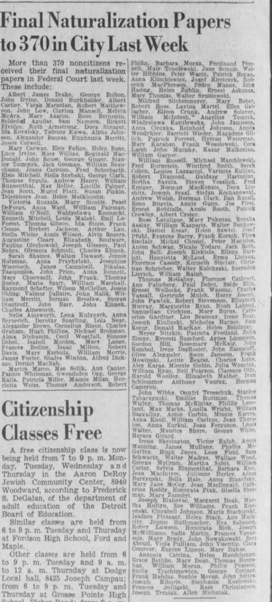 Allen Michniak Naturalized Date.   Deroit Free Press 1942 - Final Naturalization Papers to 370 in City Last...