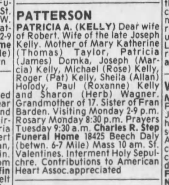 Obit for Patricia Agnes Kelly. 31 July 1993. Detroit Free Press.