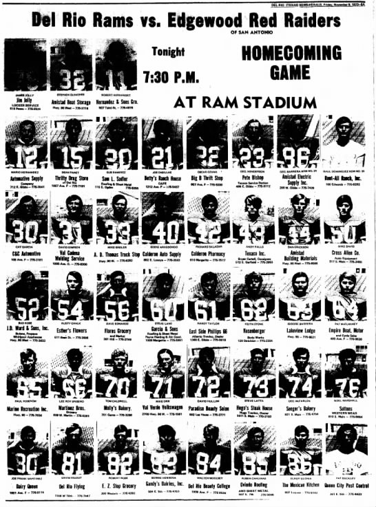 Andy Falls, high school football 2, nov 1973 - DEL RIO (TEXAS) NEWg-HERAlP. F riday. November...