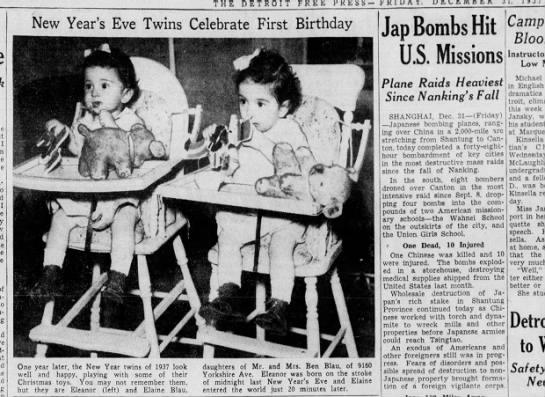 1937 New Year's Babies Turn 1 - THE DETROIT FREE PRESS F I I New Year's Eve...