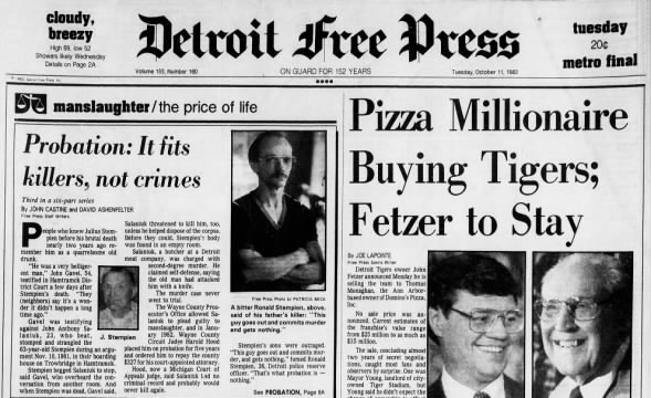 Tigers History: Pizza Millionaire Buying Tigers, Oct. 11, 1983
