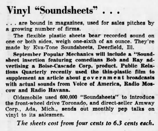 "Vinyl soundsheets - Vinyl ""Soundsheets"" ... . . . are bound in..."