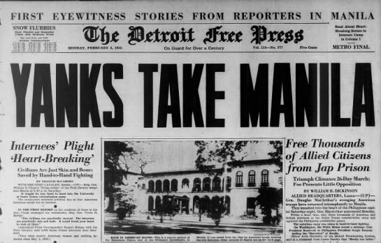 Headline from the beginning of the Battle of Manila, 5 Feb 1945 - FIRST EYEWITNESS TO R-I-E R-I-E R-I-E R-I-E...