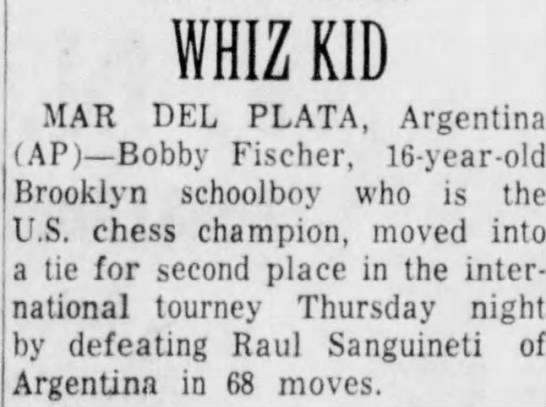 Whiz Kid - WHIZ KID MAR DEL PLATA, Argentina (AP) Bobby...