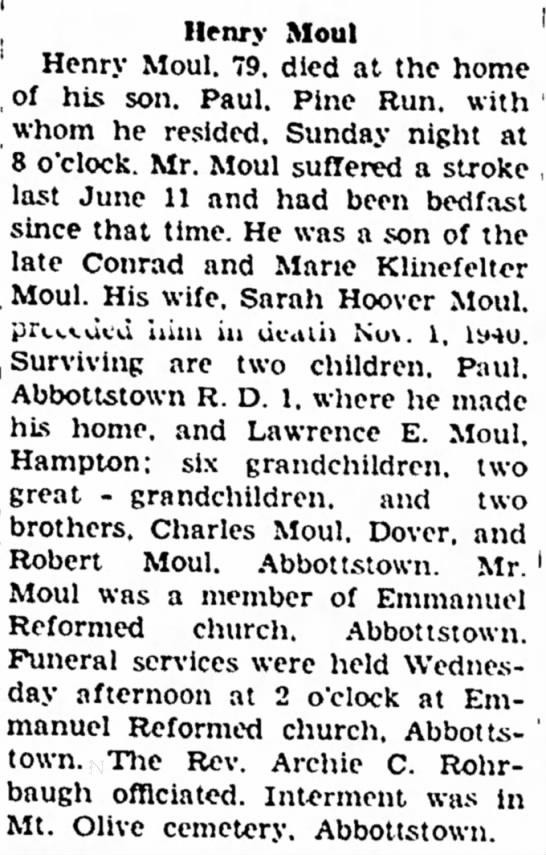 """Henry Moul obit-May 1948 - New t i n g Vernon , . _ . . .. Iate C °"""" rad..."""