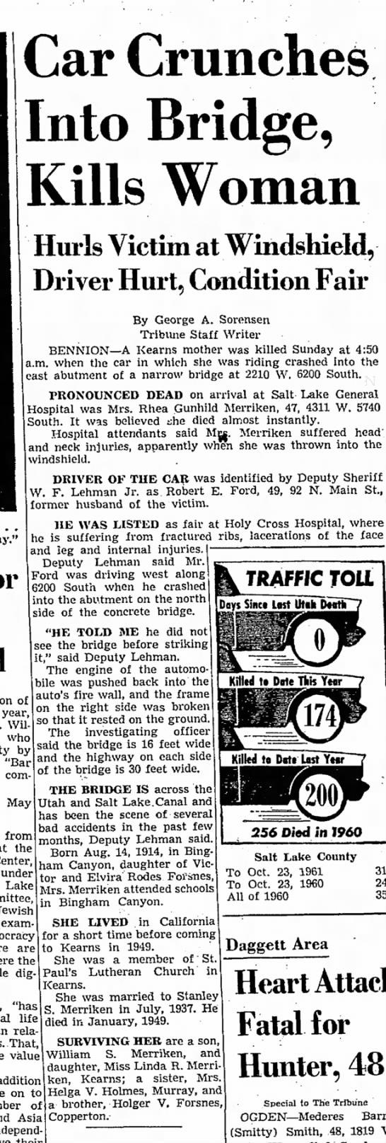 Rhea Gunhild Merriken accident - Car Crunches Into Bridge, Kills Woman Hurls...