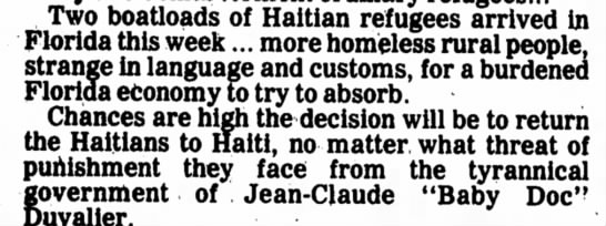 "Haitian refugees, ""tyrannical"" Baby Doc - Two boatloads of Haitian refugees arrived hi..."