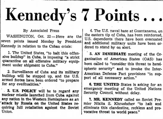 kennedy demands - Kennedy's 7 Points ... By Associated Press...