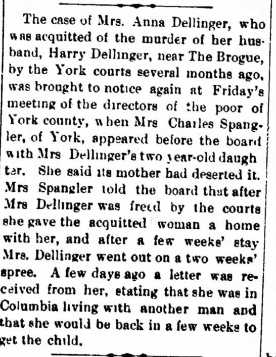 Anna Dellinger child abandonment charge-Dec 1917