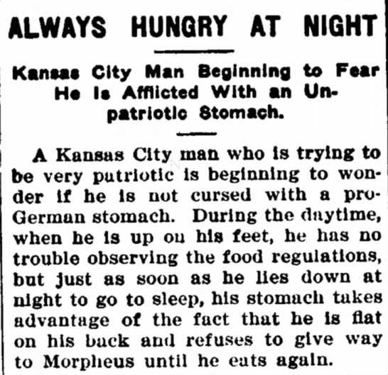 Man Cursed With an Unpatriotic Stomach? - ALWAYS HUNGRY AT NIGHT KantM City Man Beginning...