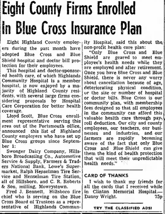 - e d Eight County Firms Enrolled In Blue Cross...