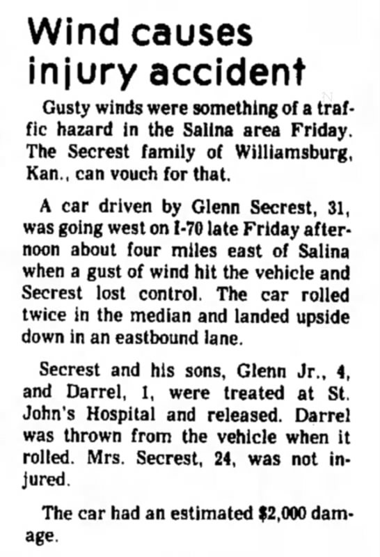 Wind Causes injury Glenn Secrest, 31 - Wind causes injury accident Gusty winds were...