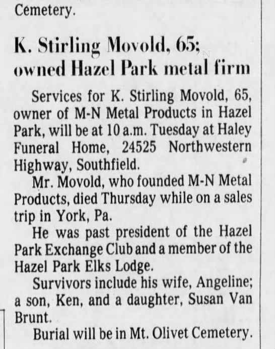 Kenneth Stirling Movold, 1981 (son of William Theodore Movold) - Cemetery. K. Stirling Movold, 65; owned Hazel...