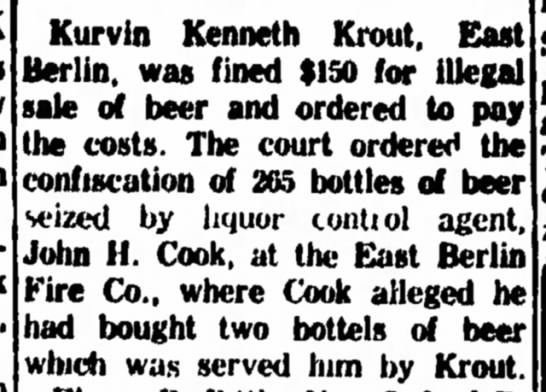 Kurvin Kenneth Krout fined for sale of illegal beer-May 1963