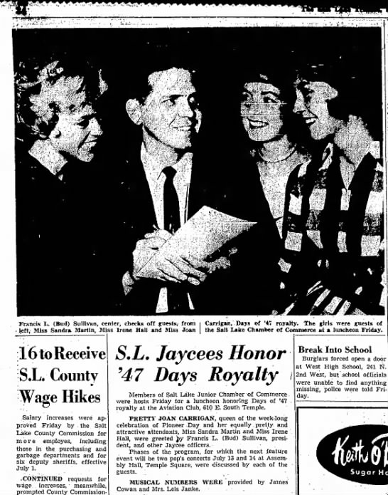 1961 Joan as Days of 47 Queen at Luncheon - Francis L. (Bud) Sullivan, center, checks off...