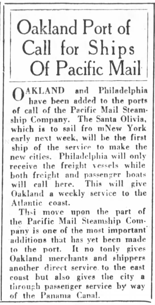 Santa Olivia adds Oakland and Philadelphia to route Nov 1923 - Oakland Port of Call for Ships Of Pacific Mail...