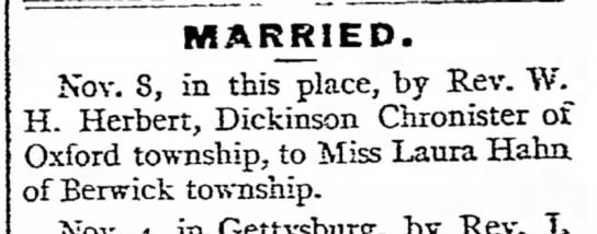 married a chronister - from MARRIED. Nov. S, in this place, by Rev. H....