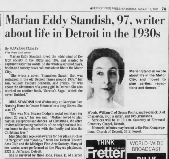 Marian Eddy Standish Obituary Detroit Free Press 08 Aug 1981 Page 11 - DETROIT FREE PRESSSATURDAY, AUGUST 8, 1981 7A...