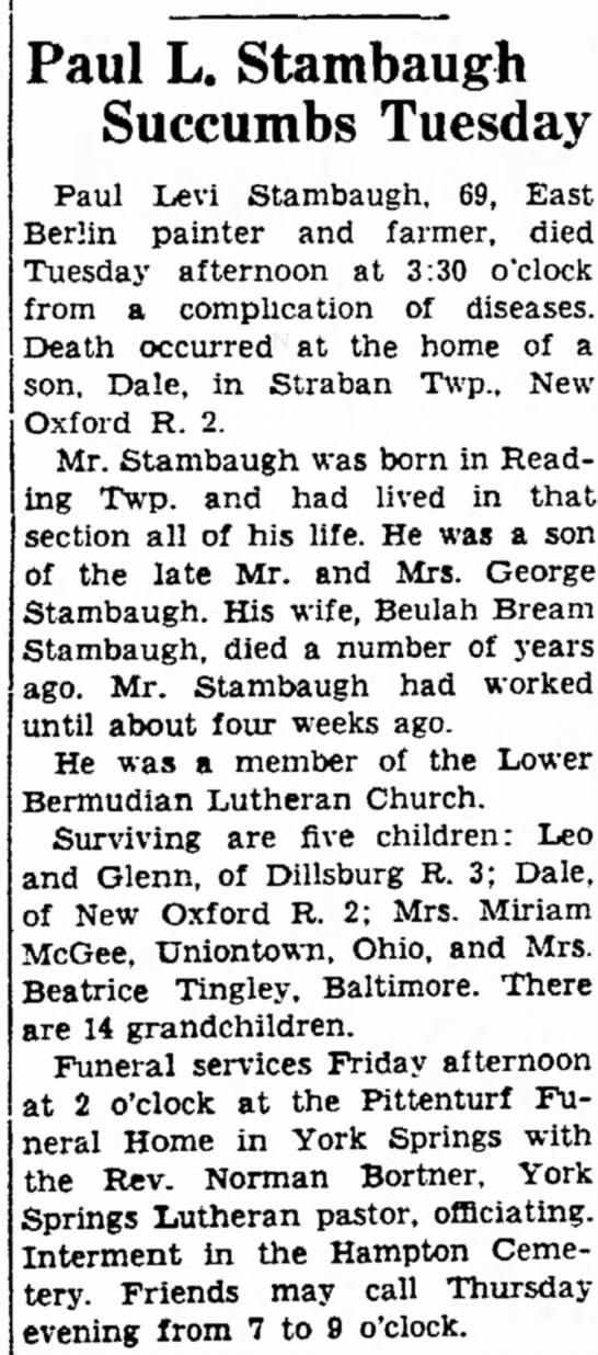 Paul Levi Stambaugh obit-Jun 1956 - Bank who tank- driving her on Paul L. Stambaugh...