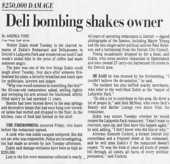 Zukin's Restaurant and Deli article - $250,000 DAMAGE Deli bombing shakes owner By...