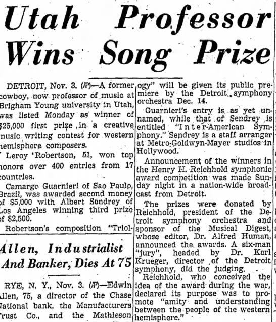 Albert Sendery song prize - the Utah Prafessor Wins Song Prize DETROJT,...