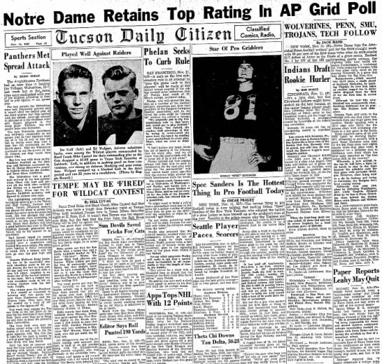 19471111 Tucson Daily Citizen (Tucson, Arizona) Tuesday, November 11, 1947 p13 CLIP - Notre Dame Sports Section Nov. Panthers Met...