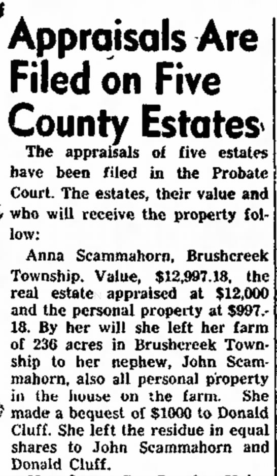 1952Dec26_AnnaScammahornEstateFiled - Appraisals Are Filed on Five County Estates The...