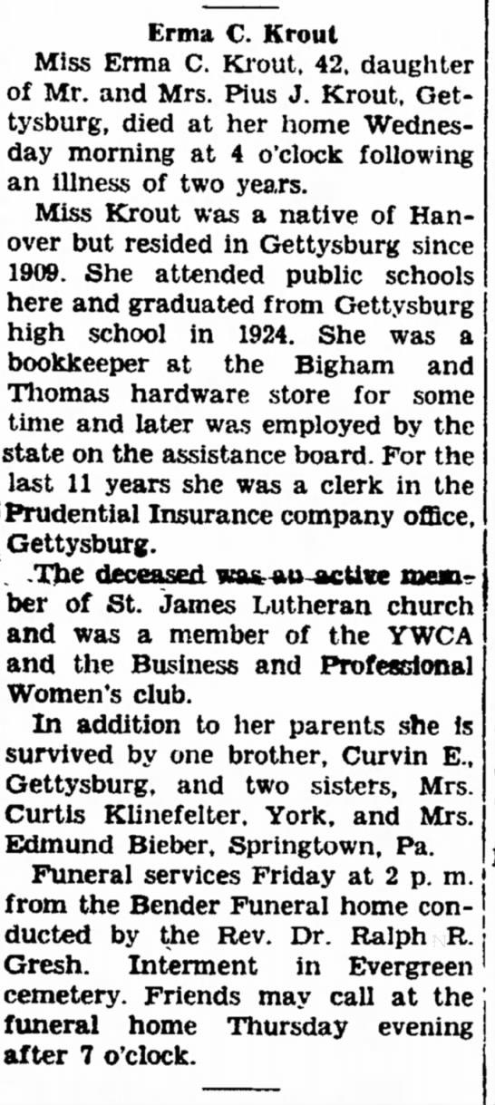 Erma C. Krout obit-Dec 1946