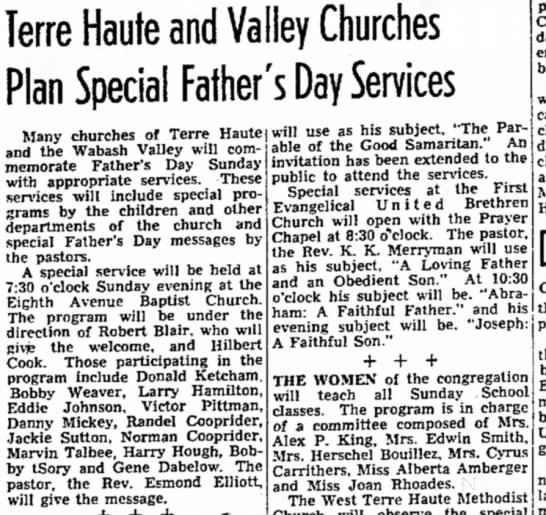 Larry Hamilton -6/17/1950 - Terre Haute and Valley Churches Plan Special...