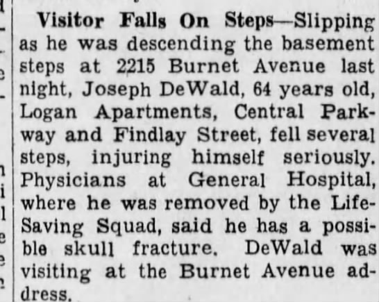 joseph dewald - pre- Visitor Falls On Steps Slipping as he was...
