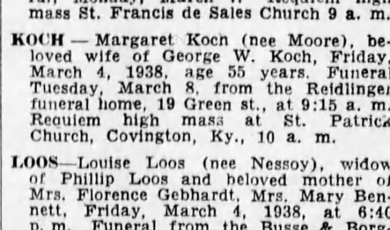 1938-03-06 Koch, Geo differnt than ours also married to Margaret  FYI - mass st. u rancis oe sales cnurch 9 a. m. KOt'H...