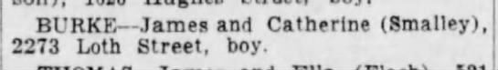 Jim Burke's birth announcement - BURKE James and Catherine (Smalley), 2273 Loth...